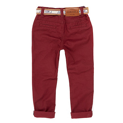 J by Jasper Conran - Boy+s red belted chinos
