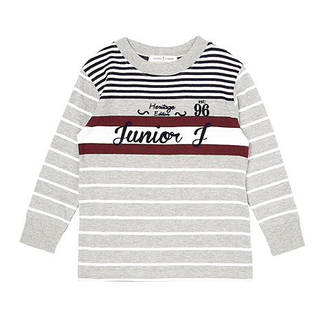 J by Jasper Conran - Boy+s grey long sleeved striped top