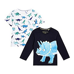 bluezoo - Boys' pack of two blue dinosaur print tops