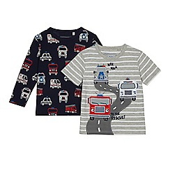 bluezoo - Pack of two boys' navy and grey fire truck tops