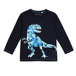 bluezoo - Boys' navy geometric dinosaur print t-shirt