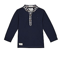 J by Jasper Conran - Boys' navy textured long sleeve polo shirt