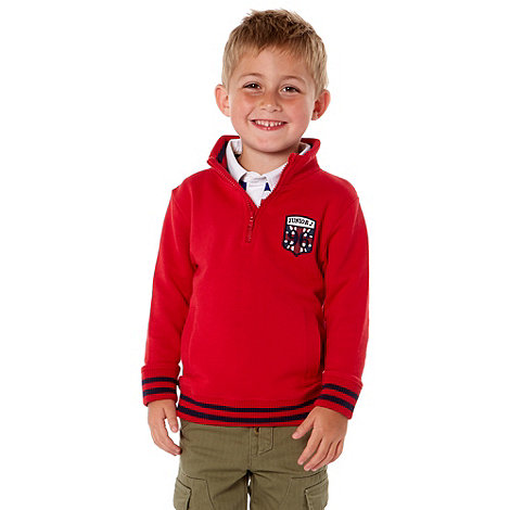J by Jasper Conran - Boy+s red funnel neck sweat top