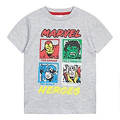 Marvel - Boys' grey 'Marvel Heroes' print t-shirt
