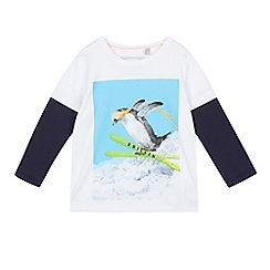 bluezoo - Boys' white skiing penguin mock top