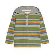 Boy's green long sleeved hooded polo top