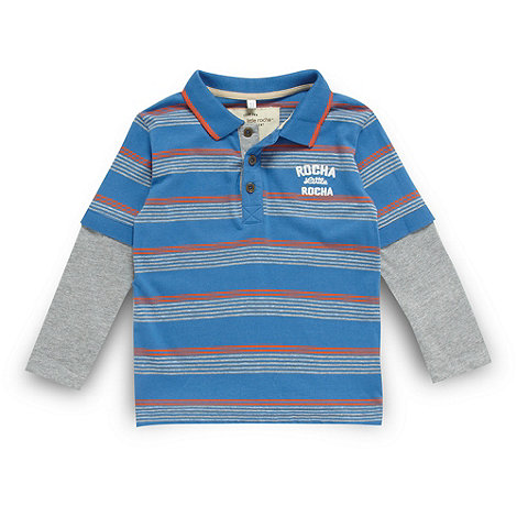 RJR.John Rocha - Designer boy+s blue striped dual sleeve polo shirt