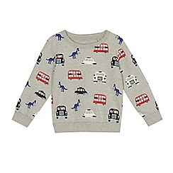 bluezoo - Boys' grey London dinosaur print sweater