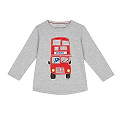 bluezoo - Boys' grey Lonon bus applique long sleeve top