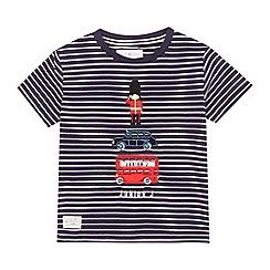 J by Jasper Conran - Boys' navy striped London themed applique top