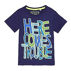 bluezoo - Boys' navy 'Here Comes Trouble' printed t-shirt