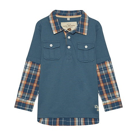 RJR.John Rocha - Boy+s blue checked mock sleeved top