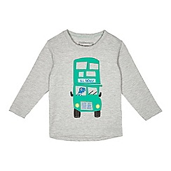 bluezoo - Boys' grey dinosaur bus applique t-shirt