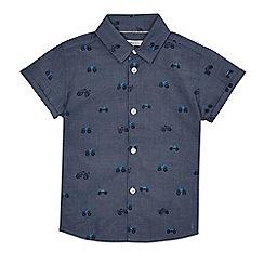 bluezoo - Boys' blue chambray truck print shirt