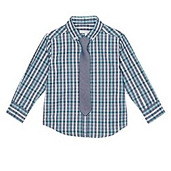 bluezoo - Boys' blue checked shirt and tie set