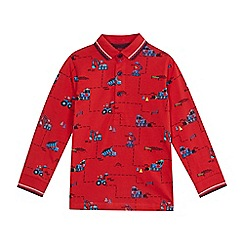 bluezoo - Boys' red digger print polo shirt