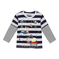 bluezoo - Boys' navy transport embroidered t-shirt