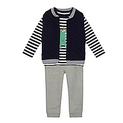 bluezoo - Boys' navy quilted jacket, top and jogging bottoms set