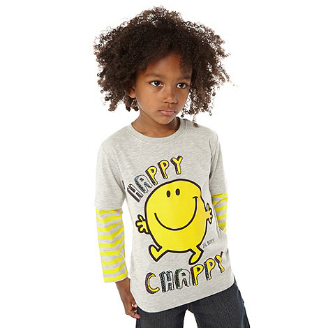Mr Men - Boy+s grey +Mr Happy+ t-shirt
