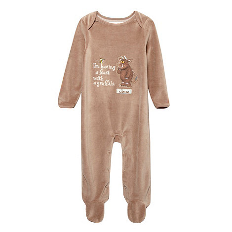 The Gruffalo - Babies brown velour +Gruffalo+ romper suit