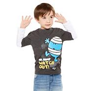 Boy's grey 'Mr. Men' mock sleeved t-shirt