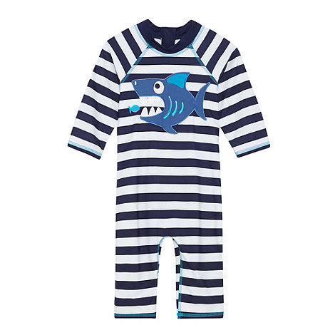 bluezoo - Boy+s navy striped shark sun safe