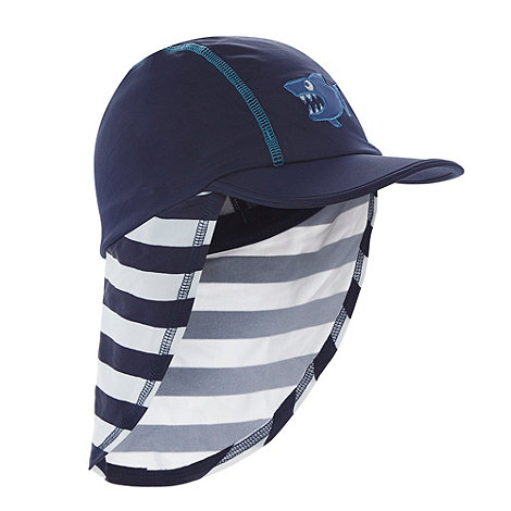 bluezoo - Boy+s navy striped shark hat