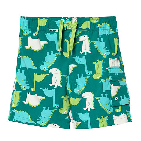 bluezoo - Boy+s green dinosaur swim shorts