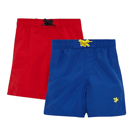 bluezoo - Boy+s pack of two bright blue and red swim shorts