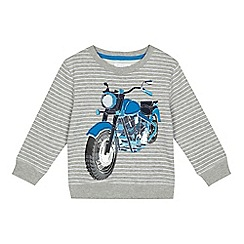 bluezoo - Boys' grey striped motorbike print sweatshirt