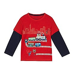 bluezoo - Boys' red dinosaur train applique mock top