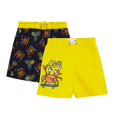 bluezoo - Pack of two boy+s yellow crab print swim shorts
