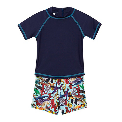 bluezoo - Boy+s pack of two navy graphic swim trunks and vest