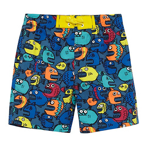 bluezoo - Boy+s blue pirana printed swim shorts