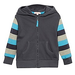 bluezoo - Boy's grey sweat striped mock jacket