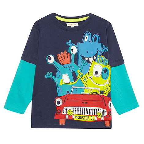 bluezoo - Boy+s navy monster car printed top