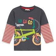 Boy's dark grey bicycle printed top
