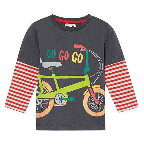 bluezoo - Boy+s dark grey bicycle printed top