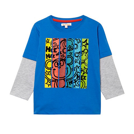 bluezoo - Boy+s blue flocked monkey t-shirt
