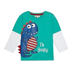 bluezoo - Boy's dark blue 'Hungry dinosaur' t-shirt
