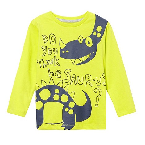 bluezoo - Boy+s lime dinosaur print long sleeved top