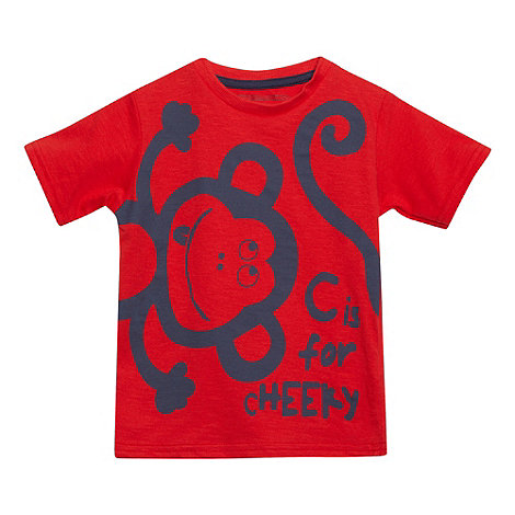 bluezoo - Boy+s red +Cheeky Monkey+ print t-shirt