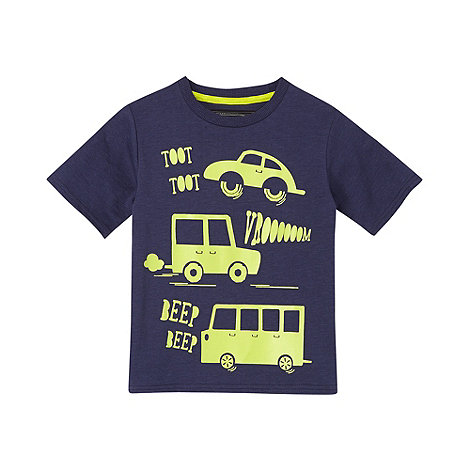 bluezoo - Babies navy vehicle print t-shirt
