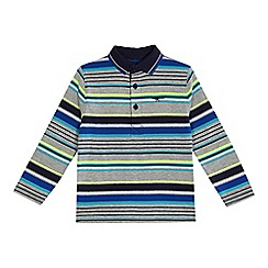 bluezoo - Boys' blue striped long sleeve polo shirt