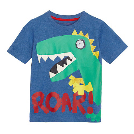 bluezoo - Boy+s blue dinosaur print t-shirt