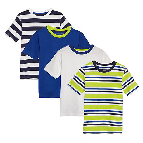 bluezoo - Pack of four boy+s blue plain and striped t-shirts