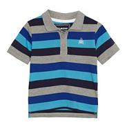 Boy's blue wide striped pique polo shirt