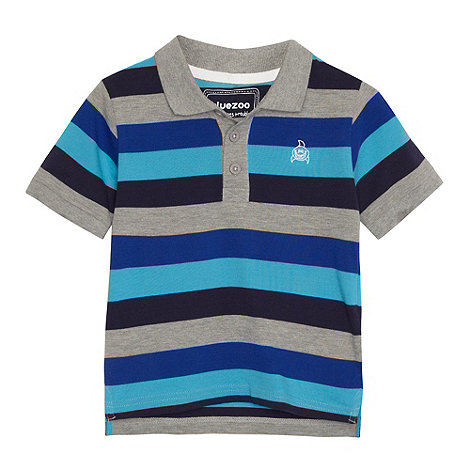 bluezoo - Boy+s blue wide striped pique polo shirt