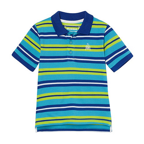 bluezoo - Boy+s blue multi striped polo shirt