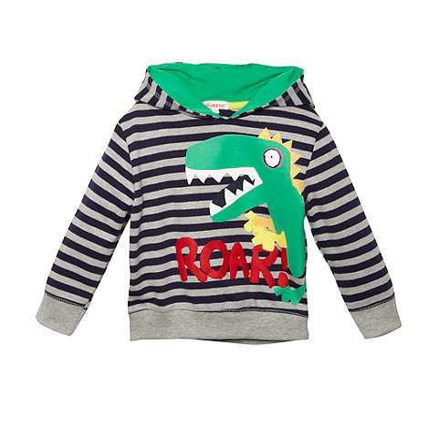 bluezoo - Boy+s navy striped dinosaur printed hoodie